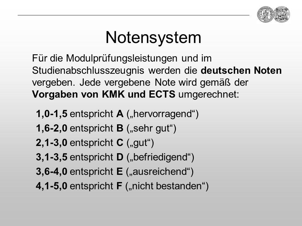 Notensystem Für die Modulprüfungsleistungen und im Studienabschlusszeugnis werden die deutschen Noten vergeben. Jede vergebene Note wird gemäß der Vor