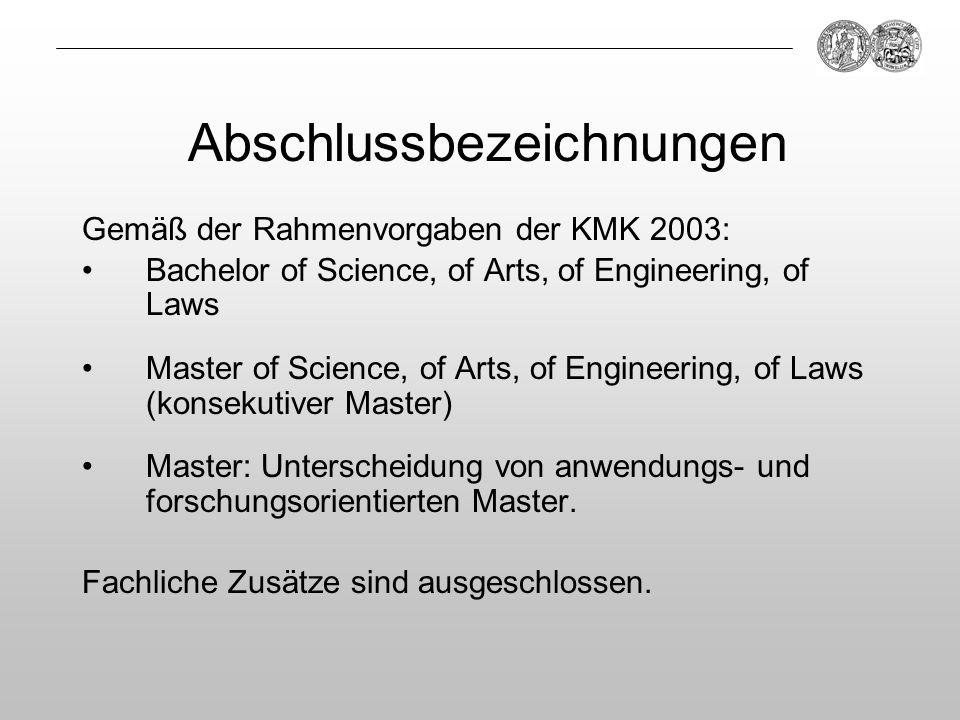 Abschlussbezeichnungen Gemäß der Rahmenvorgaben der KMK 2003: Bachelor of Science, of Arts, of Engineering, of Laws Master of Science, of Arts, of Eng
