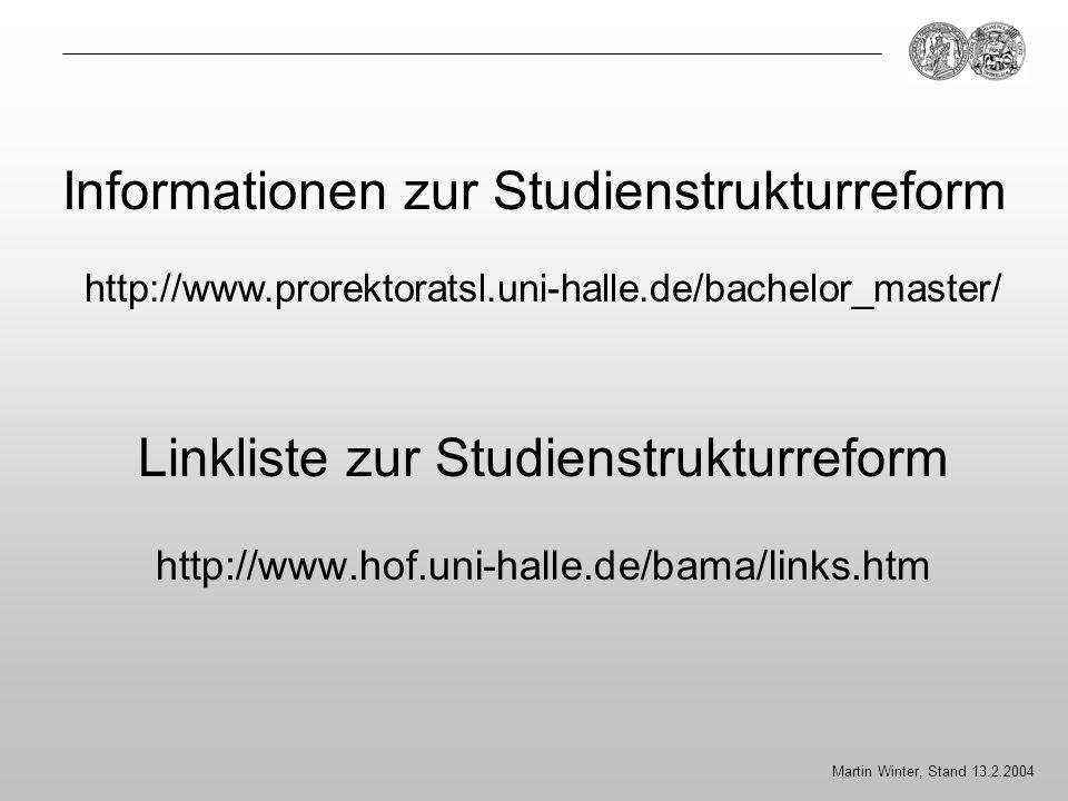 Linkliste zur Studienstrukturreform http://www.hof.uni-halle.de/bama/links.htm Martin Winter, Stand 13.2.2004 Informationen zur Studienstrukturreform