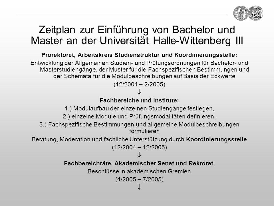 Prorektorat, Arbeitskreis Studienstruktur und Koordinierungsstelle: Entwicklung der Allgemeinen Studien- und Prüfungsordnungen für Bachelor- und Maste