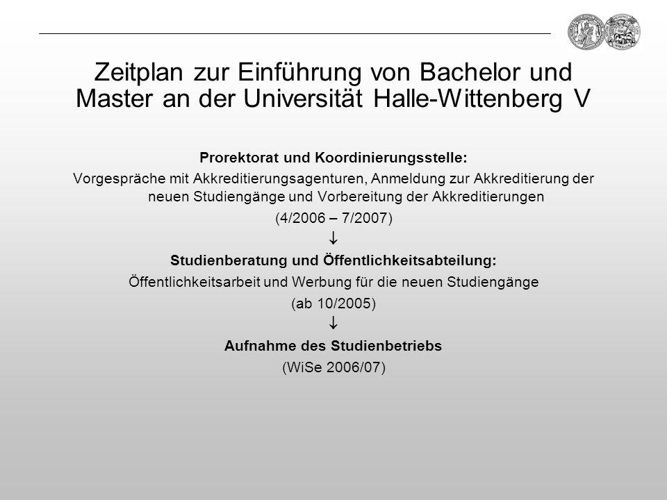 Prorektorat und Koordinierungsstelle: Vorgespräche mit Akkreditierungsagenturen, Anmeldung zur Akkreditierung der neuen Studiengänge und Vorbereitung