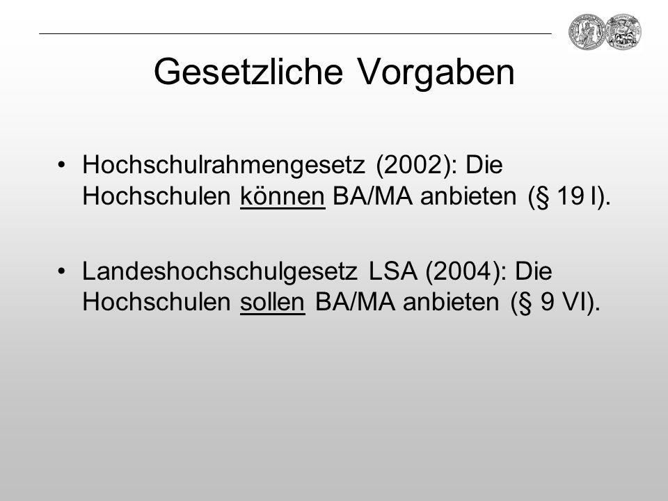 Gesetzliche Vorgaben Hochschulrahmengesetz (2002): Die Hochschulen können BA/MA anbieten (§ 19 I). Landeshochschulgesetz LSA (2004): Die Hochschulen s