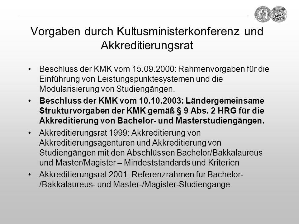 Vorgaben durch Kultusministerkonferenz und Akkreditierungsrat Beschluss der KMK vom 15.09.2000: Rahmenvorgaben für die Einführung von Leistungspunktes