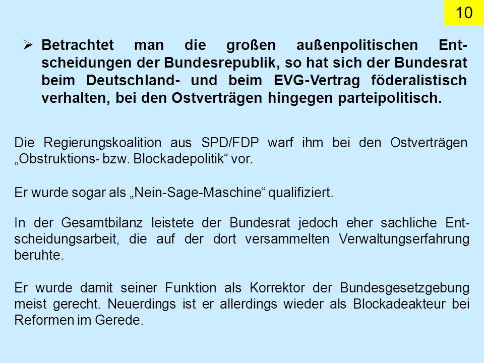 10 Betrachtet man die großen außenpolitischen Ent- scheidungen der Bundesrepublik, so hat sich der Bundesrat beim Deutschland- und beim EVG-Vertrag föderalistisch verhalten, bei den Ostverträgen hingegen parteipolitisch.