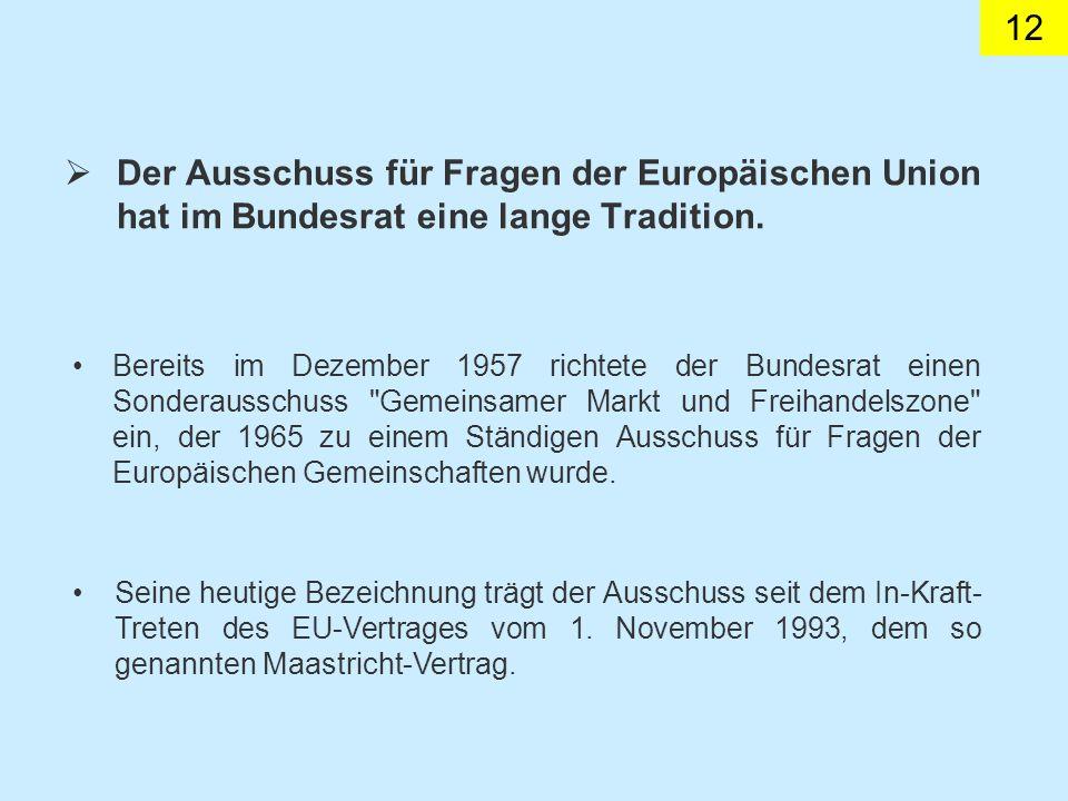 12 Der Ausschuss für Fragen der Europäischen Union hat im Bundesrat eine lange Tradition.