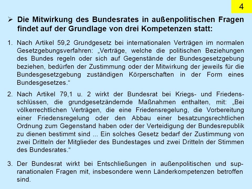 15 (6) Wenn im Schwerpunkt ausschließliche Gesetzgebungsbefugnisse der Länder betroffen sind, soll die Wahrnehmung der Rechte, die der Bundesrepublik Deutschland als Mitgliedsstaat der Europäischen Union zustehen, vom Bund auf einen vom Bundesrat benannten Vertreter der Länder übertragen werden.