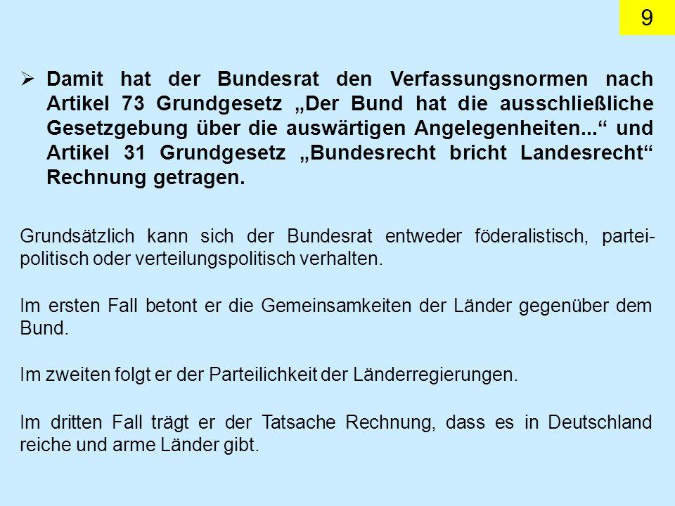 9 Damit hat der Bundesrat den Verfassungsnormen nach Artikel 73 Grundgesetz Der Bund hat die ausschließliche Gesetzgebung über die auswärtigen Angelegenheiten...