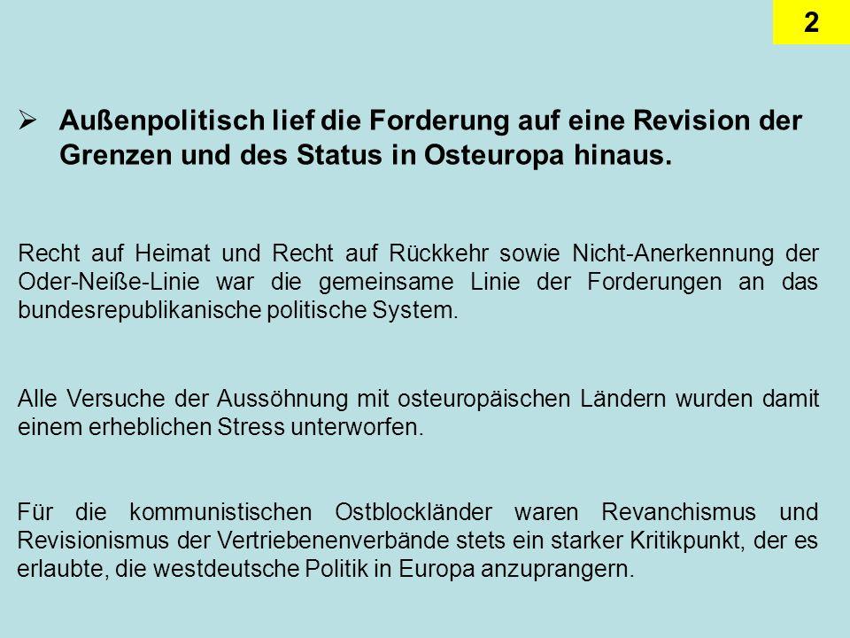 2 Außenpolitisch lief die Forderung auf eine Revision der Grenzen und des Status in Osteuropa hinaus.