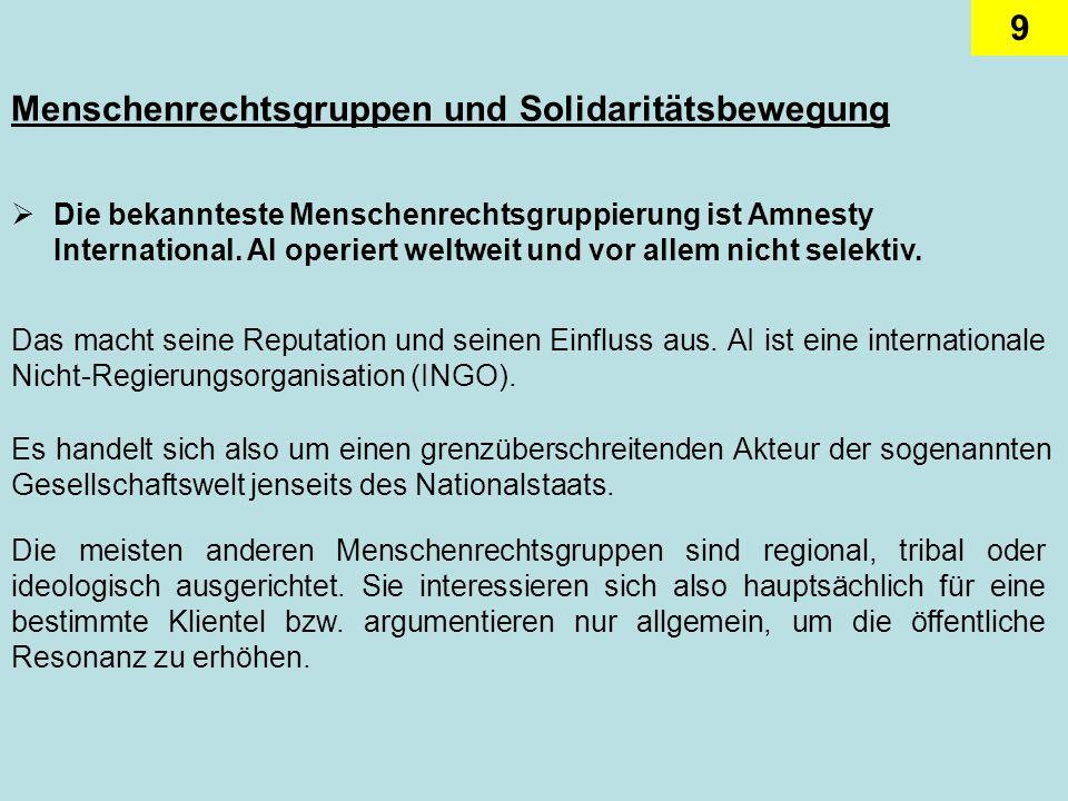 9 Menschenrechtsgruppen und Solidaritätsbewegung Die bekannteste Menschenrechtsgruppierung ist Amnesty International.