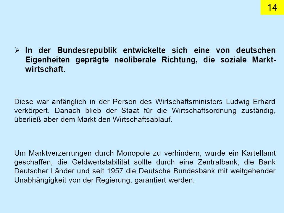 14 Diese war anfänglich in der Person des Wirtschaftsministers Ludwig Erhard verkörpert.