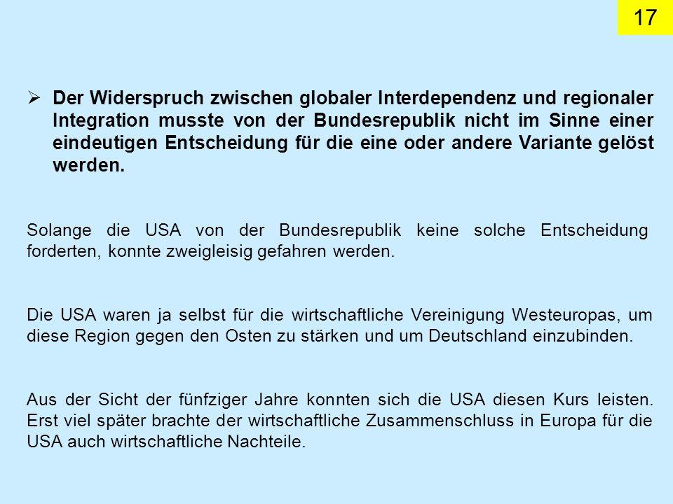 17 Der Widerspruch zwischen globaler Interdependenz und regionaler Integration musste von der Bundesrepublik nicht im Sinne einer eindeutigen Entscheidung für die eine oder andere Variante gelöst werden.