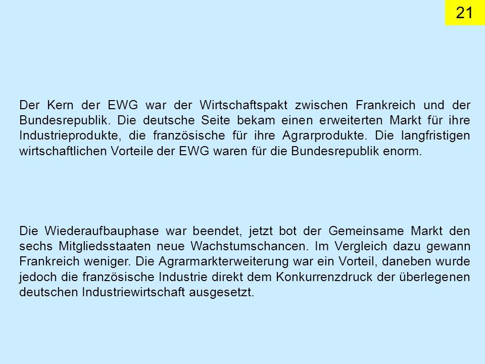 21 Der Kern der EWG war der Wirtschaftspakt zwischen Frankreich und der Bundesrepublik.