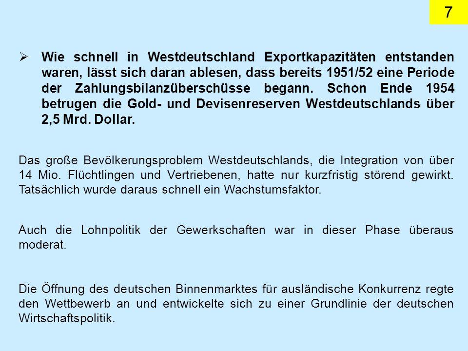 7 Wie schnell in Westdeutschland Exportkapazitäten entstanden waren, lässt sich daran ablesen, dass bereits 1951/52 eine Periode der Zahlungsbilanzüberschüsse begann.