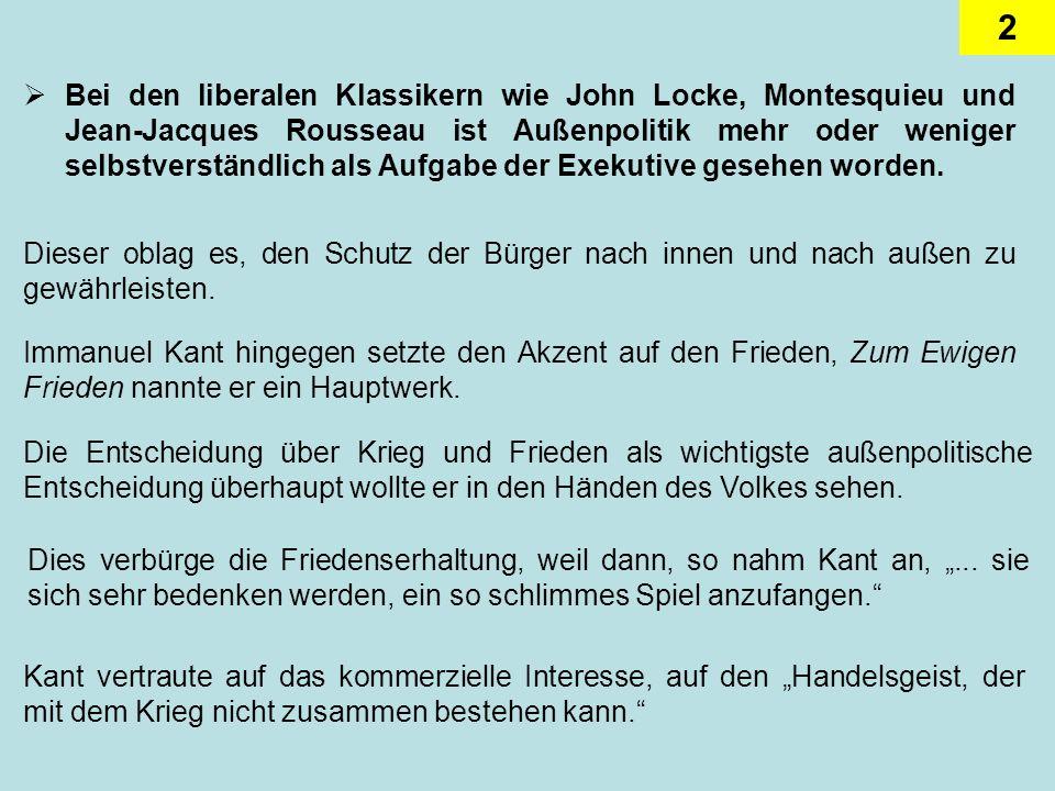 2 Bei den liberalen Klassikern wie John Locke, Montesquieu und Jean-Jacques Rousseau ist Außenpolitik mehr oder weniger selbstverständlich als Aufgabe