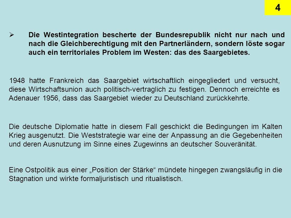 5 Dabei war sich die Bonner Politik unter Adenauer durchaus bewusst, dass die westliche Unterstützung für die deutsche Einheit gering bis inexistent war.