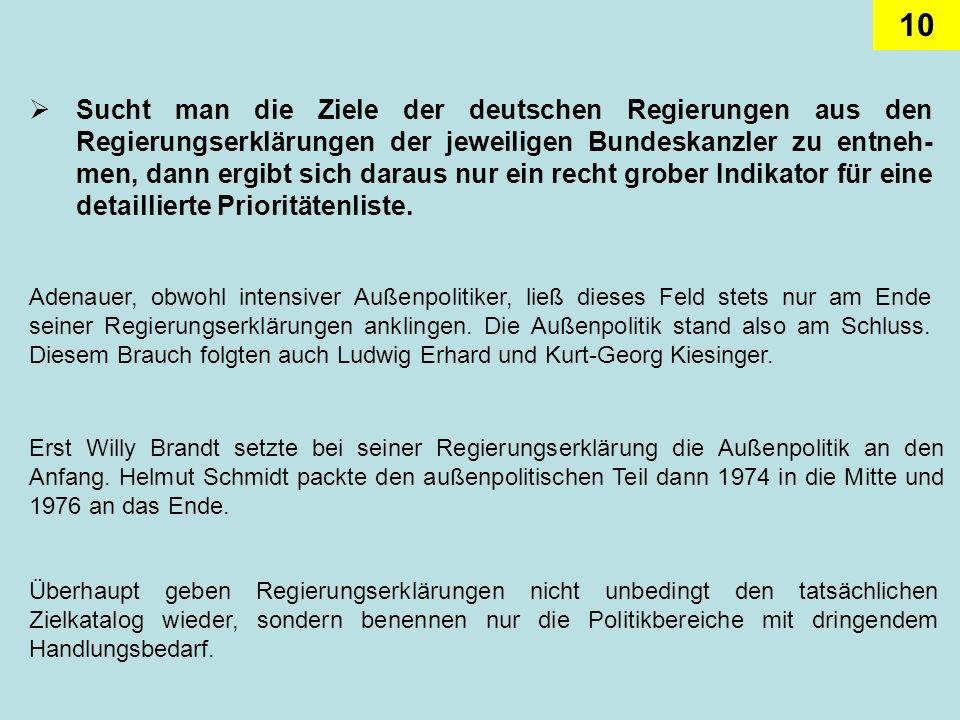 10 Sucht man die Ziele der deutschen Regierungen aus den Regierungserklärungen der jeweiligen Bundeskanzler zu entneh- men, dann ergibt sich daraus nu