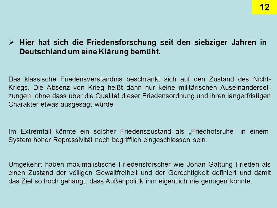 12 Hier hat sich die Friedensforschung seit den siebziger Jahren in Deutschland um eine Klärung bemüht. Das klassische Friedensverständnis beschränkt