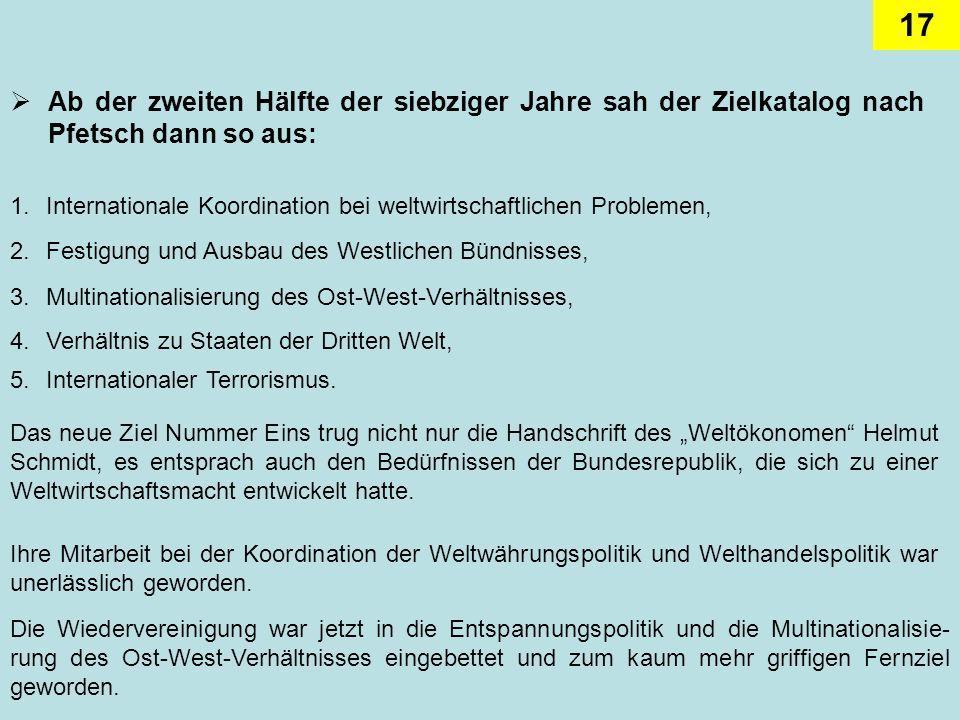 17 Ab der zweiten Hälfte der siebziger Jahre sah der Zielkatalog nach Pfetsch dann so aus: 2.Festigung und Ausbau des Westlichen Bündnisses, 1.Interna