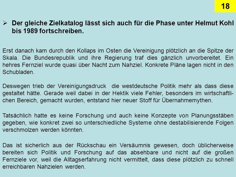 18 Der gleiche Zielkatalog lässt sich auch für die Phase unter Helmut Kohl bis 1989 fortschreiben. Deswegen trieb der Vereinigungsdruck die westdeutsc