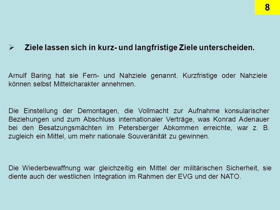9 Der Zusammenhang zwischen Zielfunktion und der instrumentellen Funktion lässt sich am Beispiel der deutschen Außenpolitik im Hinblick auf die europäische Einigung gut aufzeigen.