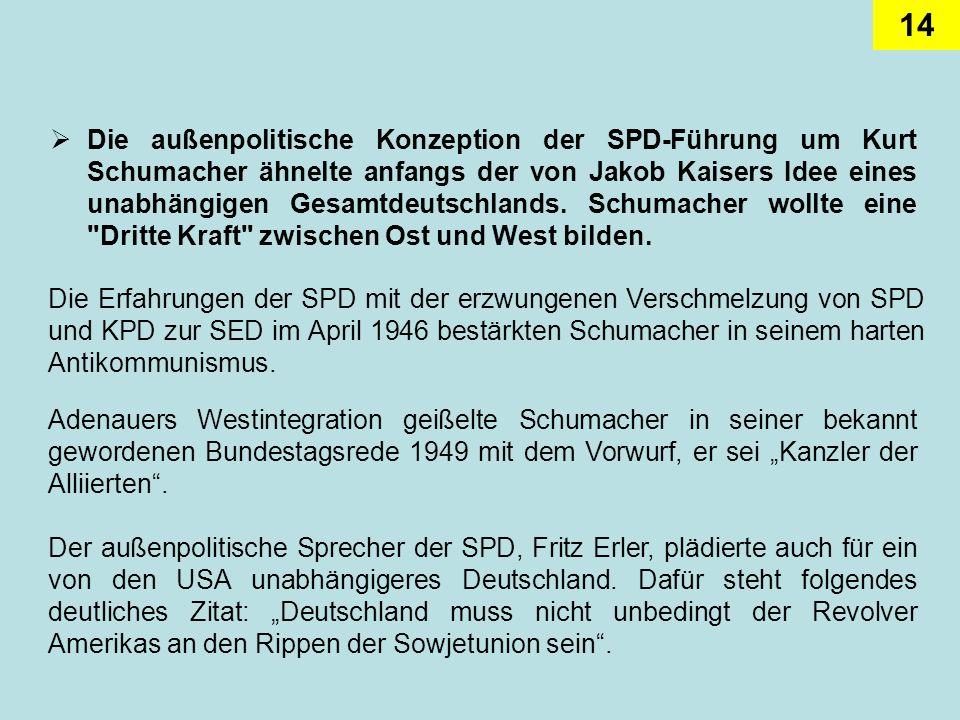 14 Die außenpolitische Konzeption der SPD-Führung um Kurt Schumacher ähnelte anfangs der von Jakob Kaisers Idee eines unabhängigen Gesamtdeutschlands.