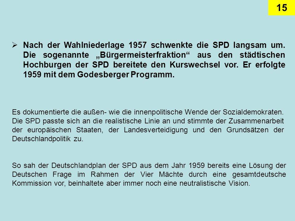 15 Nach der Wahlniederlage 1957 schwenkte die SPD langsam um. Die sogenannte Bürgermeisterfraktion aus den städtischen Hochburgen der SPD bereitete de