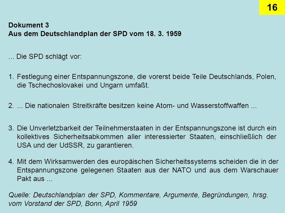 16 Dokument 3 Aus dem Deutschlandplan der SPD vom 18. 3. 1959... Die SPD schlägt vor: 1.Festlegung einer Entspannungszone, die vorerst beide Teile Deu