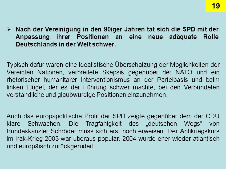 19 Nach der Vereinigung in den 90iger Jahren tat sich die SPD mit der Anpassung ihrer Positionen an eine neue adäquate Rolle Deutschlands in der Welt