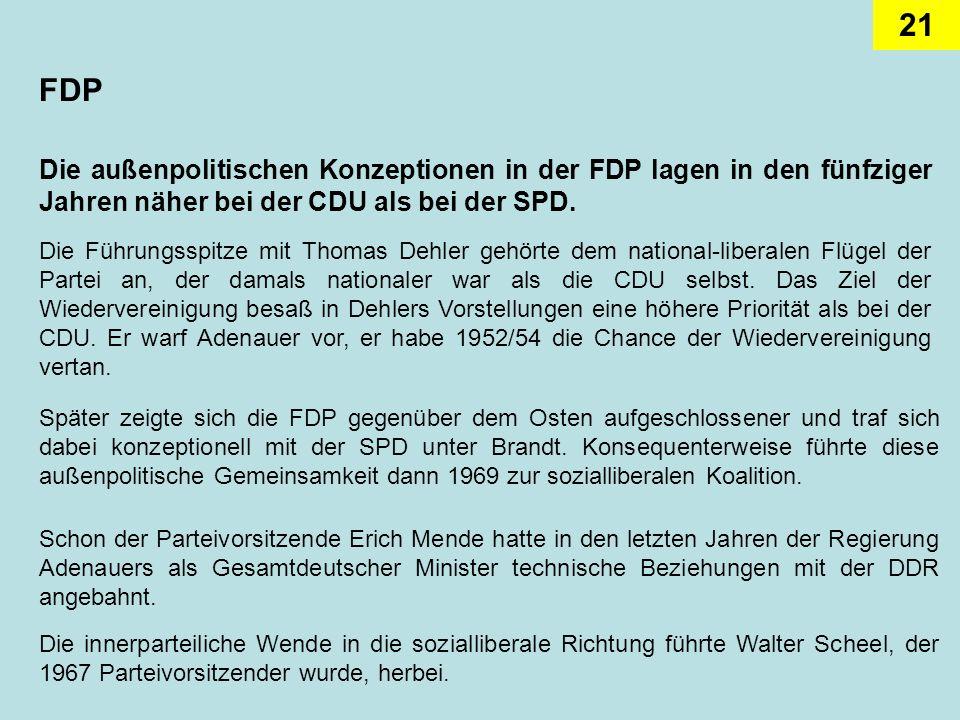 21 FDP Die außenpolitischen Konzeptionen in der FDP lagen in den fünfziger Jahren näher bei der CDU als bei der SPD. Die Führungsspitze mit Thomas Deh