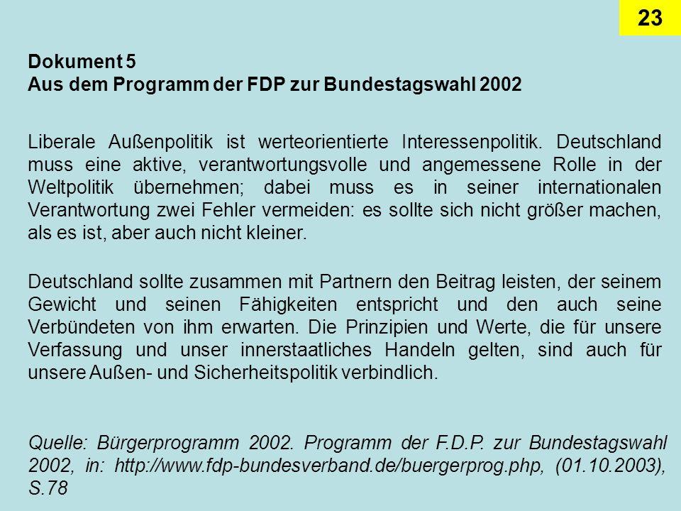 23 Dokument 5 Aus dem Programm der FDP zur Bundestagswahl 2002 Liberale Außenpolitik ist werteorientierte Interessenpolitik. Deutschland muss eine akt