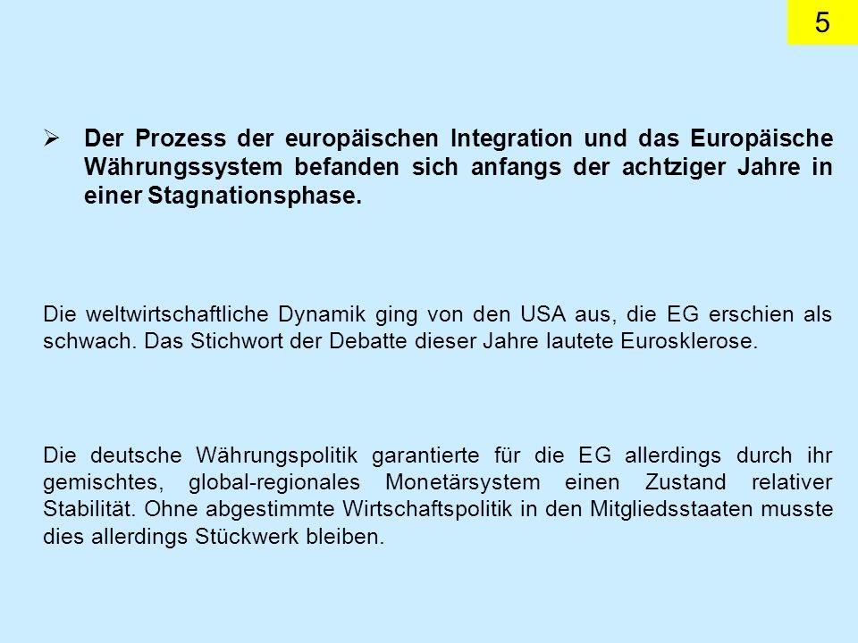 5 Der Prozess der europäischen Integration und das Europäische Währungssystem befanden sich anfangs der achtziger Jahre in einer Stagnationsphase. Die
