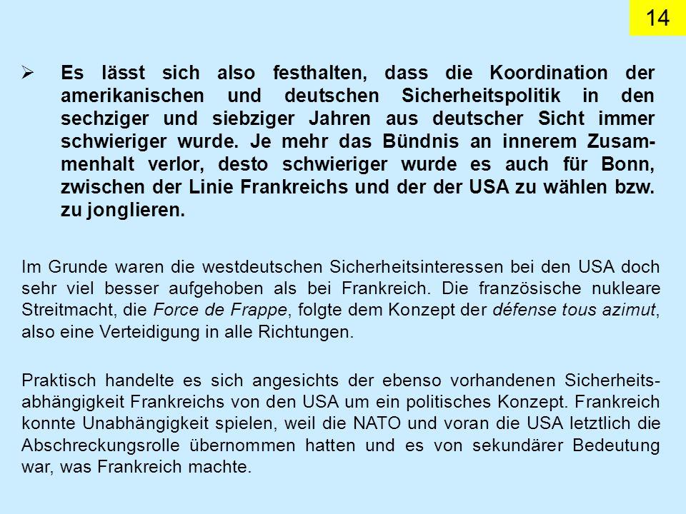 14 Es lässt sich also festhalten, dass die Koordination der amerikanischen und deutschen Sicherheitspolitik in den sechziger und siebziger Jahren aus