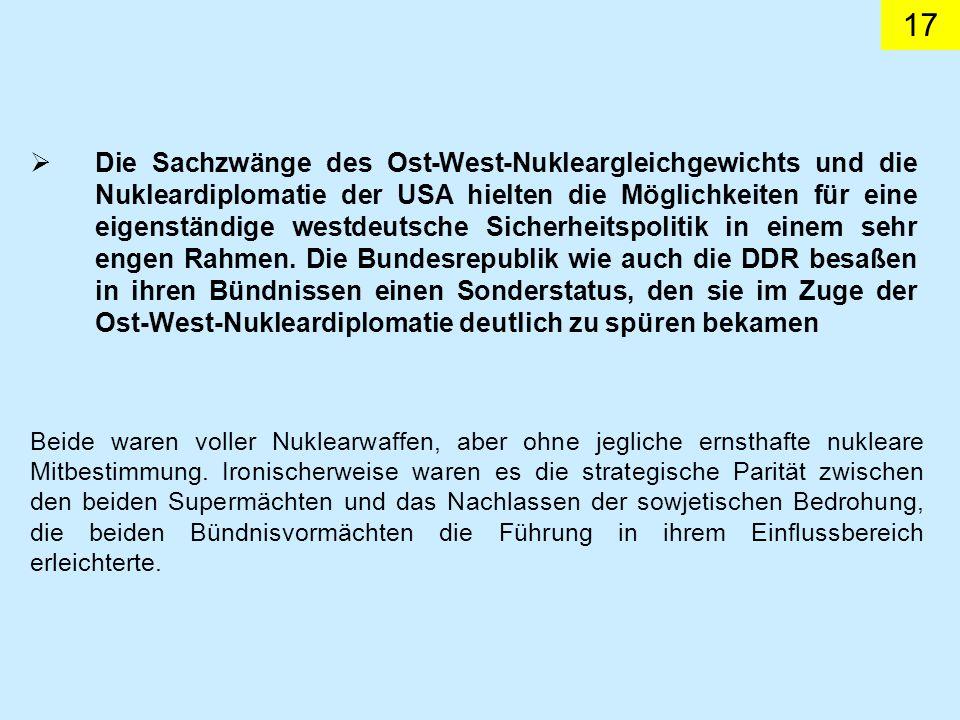 17 Die Sachzwänge des Ost-West-Nukleargleichgewichts und die Nukleardiplomatie der USA hielten die Möglichkeiten für eine eigenständige westdeutsche S