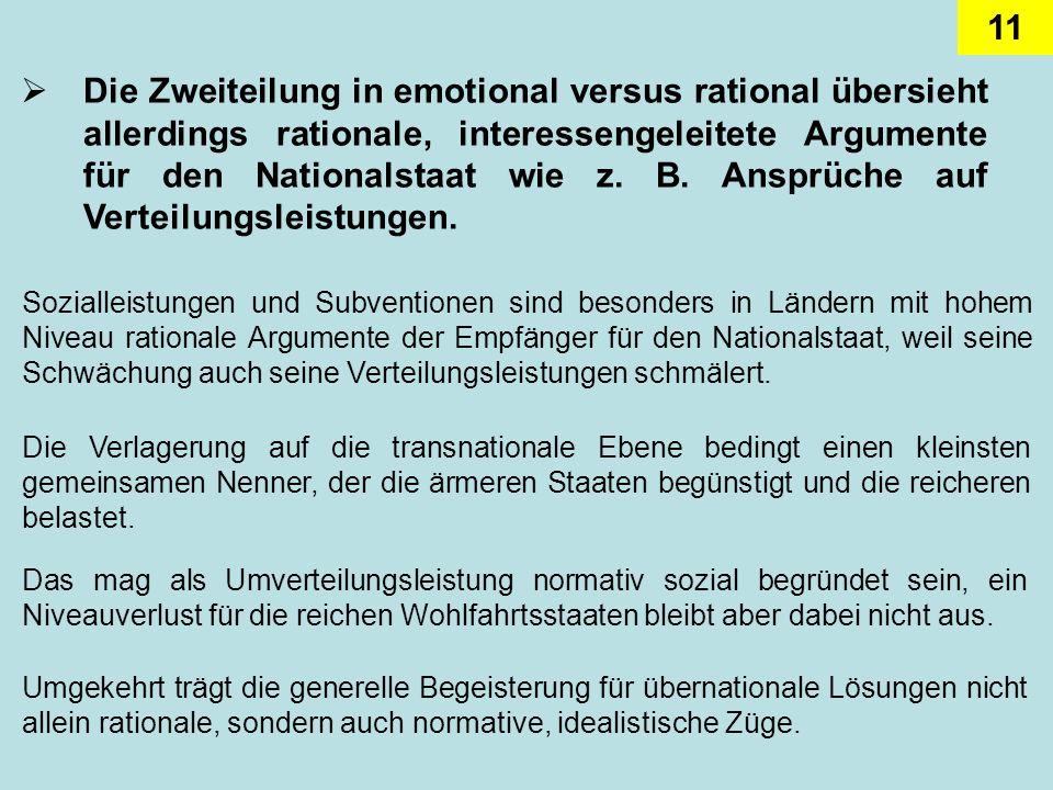 11 Die Zweiteilung in emotional versus rational übersieht allerdings rationale, interessengeleitete Argumente für den Nationalstaat wie z. B. Ansprüch