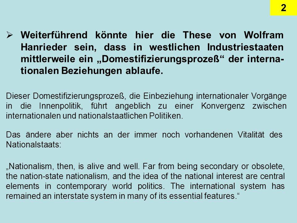2 Weiterführend könnte hier die These von Wolfram Hanrieder sein, dass in westlichen Industriestaaten mittlerweile ein Domestifizierungsprozeß der int