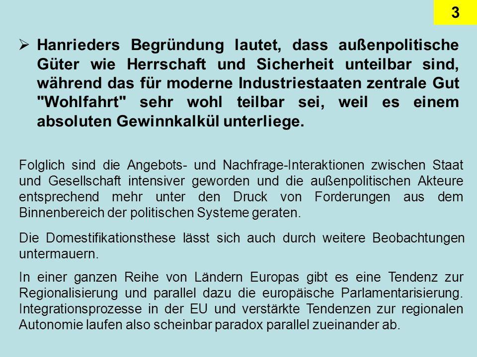3 Hanrieders Begründung lautet, dass außenpolitische Güter wie Herrschaft und Sicherheit unteilbar sind, während das für moderne Industriestaaten zent