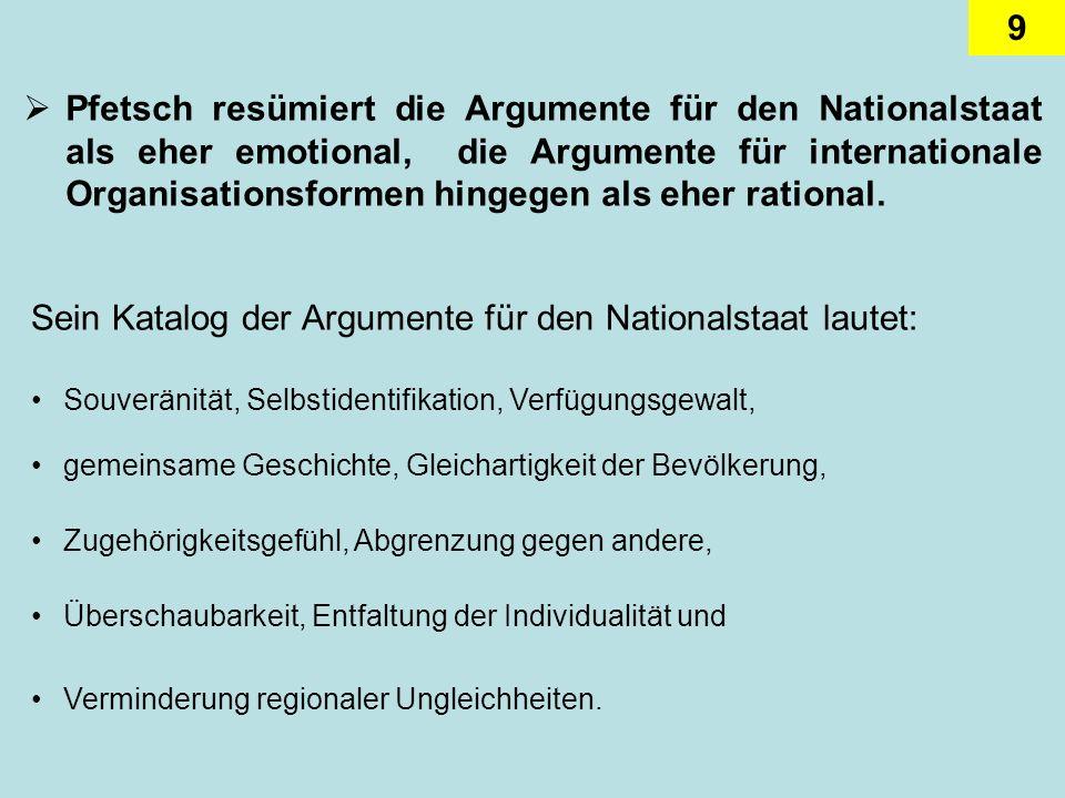 9 Pfetsch resümiert die Argumente für den Nationalstaat als eher emotional, die Argumente für internationale Organisationsformen hingegen als eher rat