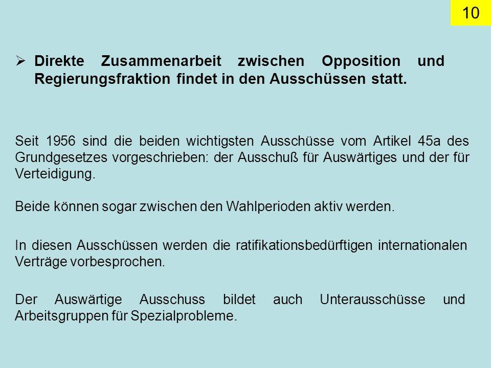 10 Direkte Zusammenarbeit zwischen Opposition und Regierungsfraktion findet in den Ausschüssen statt.