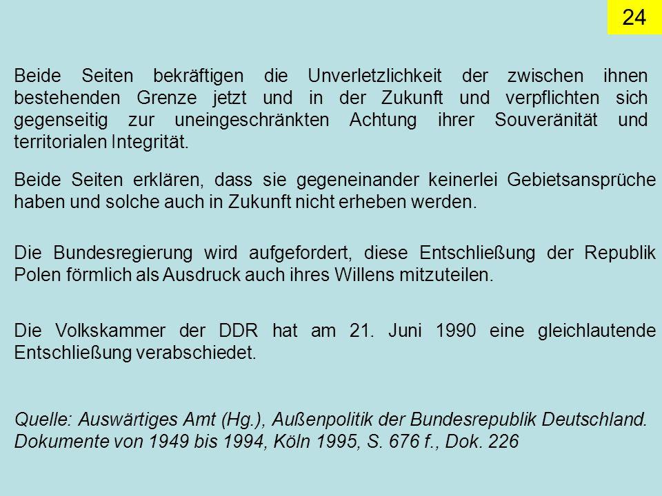 24 Die Volkskammer der DDR hat am 21.Juni 1990 eine gleichlautende Entschließung verabschiedet.