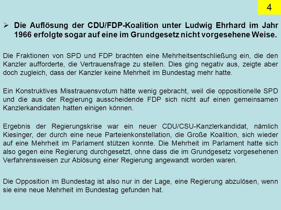 4 Die Auflösung der CDU/FDP-Koalition unter Ludwig Ehrhard im Jahr 1966 erfolgte sogar auf eine im Grundgesetz nicht vorgesehene Weise.