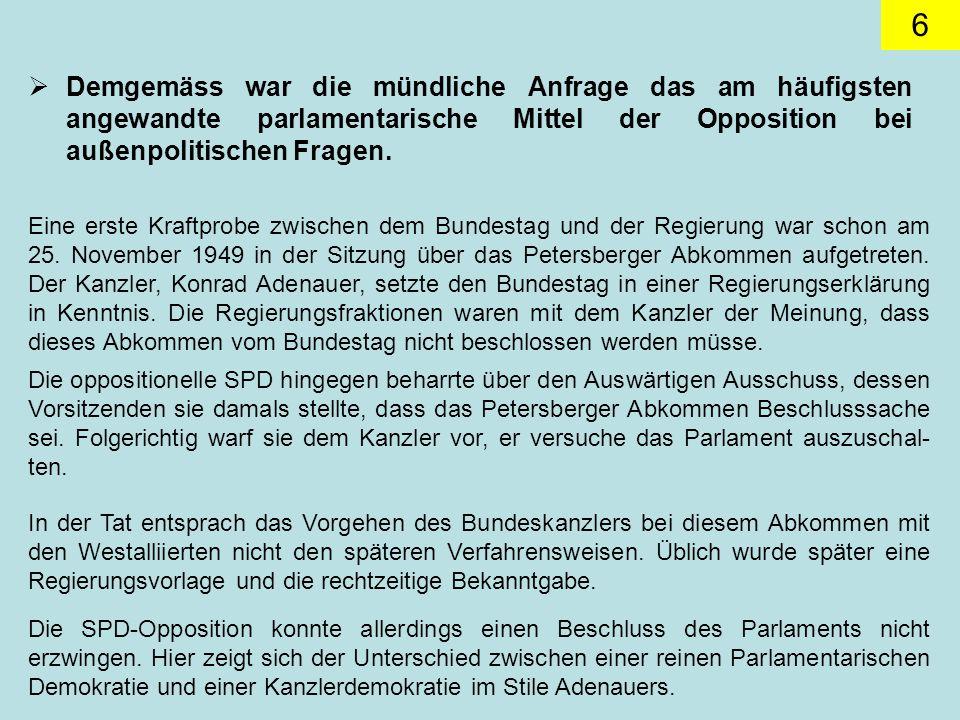 6 Demgemäss war die mündliche Anfrage das am häufigsten angewandte parlamentarische Mittel der Opposition bei außenpolitischen Fragen.