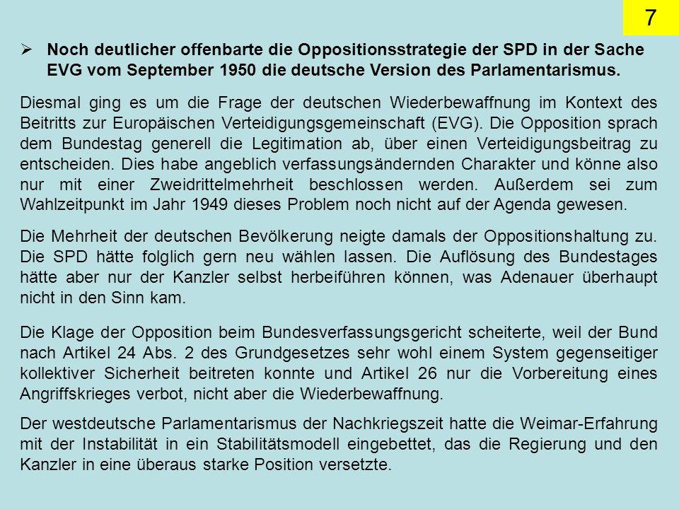 7 Noch deutlicher offenbarte die Oppositionsstrategie der SPD in der Sache EVG vom September 1950 die deutsche Version des Parlamentarismus.