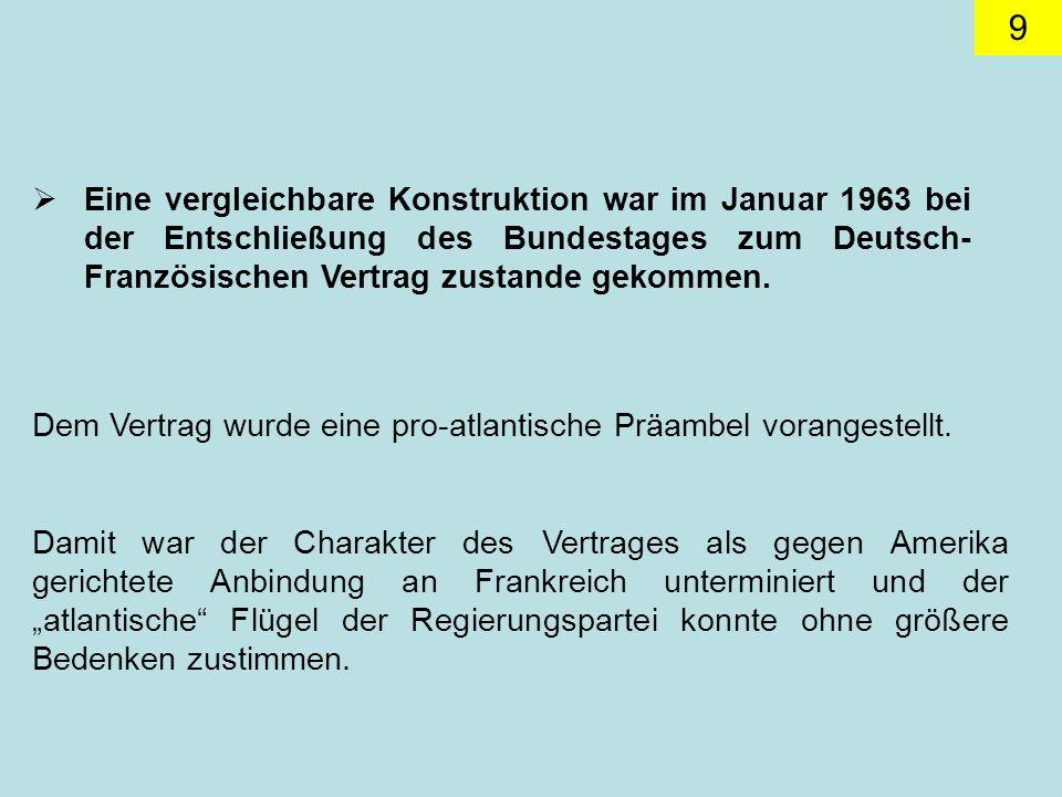 9 Eine vergleichbare Konstruktion war im Januar 1963 bei der Entschließung des Bundestages zum Deutsch- Französischen Vertrag zustande gekommen.