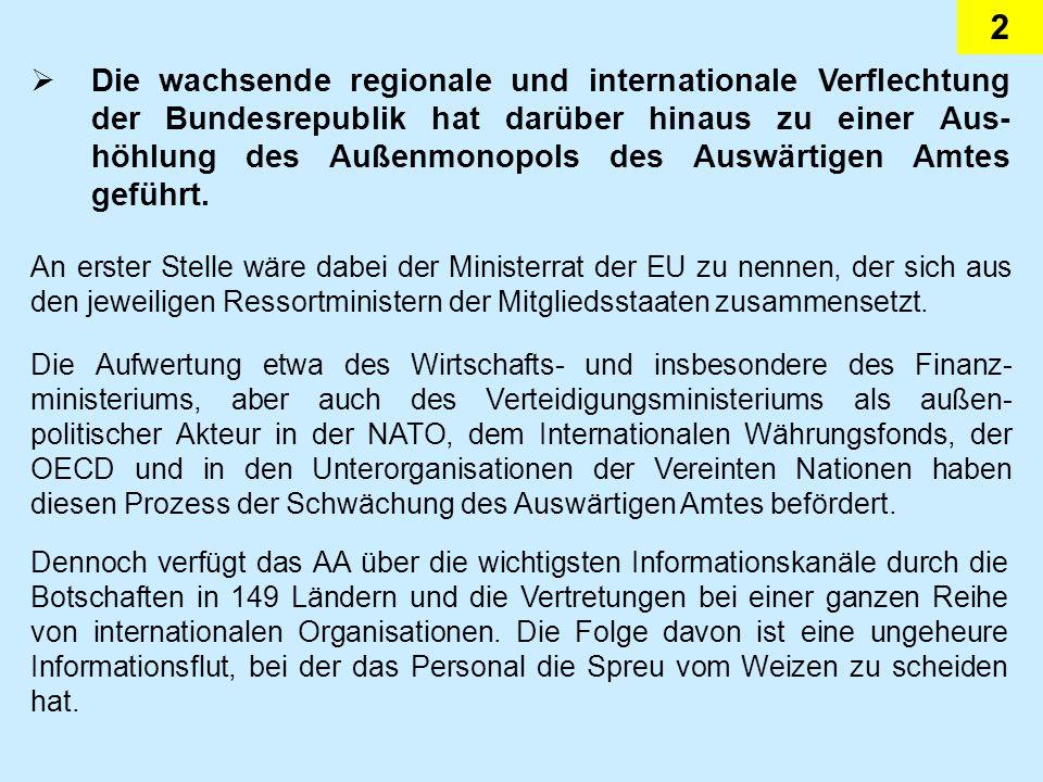 2 Die wachsende regionale und internationale Verflechtung der Bundesrepublik hat darüber hinaus zu einer Aus- höhlung des Außenmonopols des Auswärtigen Amtes geführt.