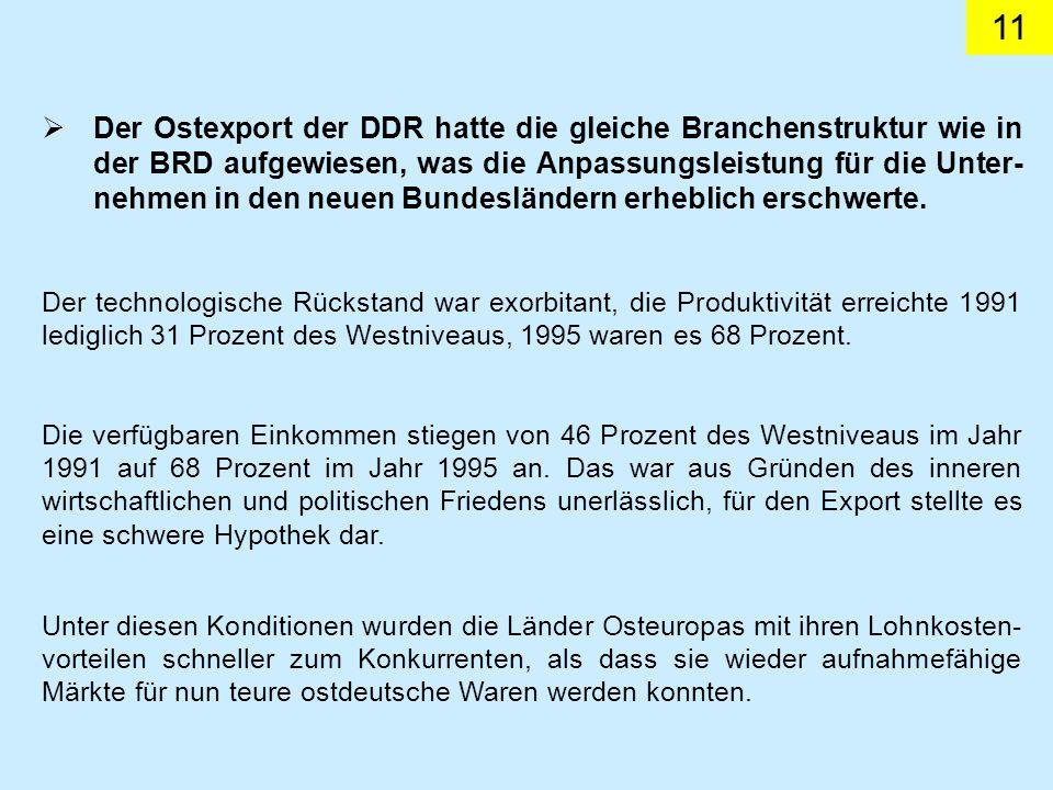 11 Der Ostexport der DDR hatte die gleiche Branchenstruktur wie in der BRD aufgewiesen, was die Anpassungsleistung für die Unter- nehmen in den neuen Bundesländern erheblich erschwerte.