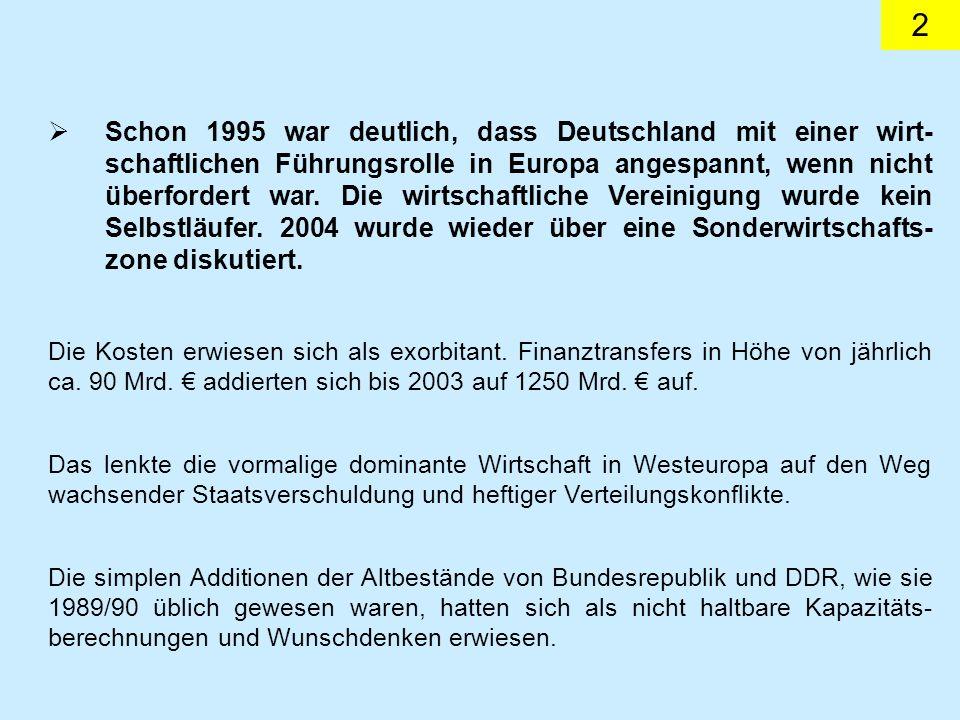 2 Schon 1995 war deutlich, dass Deutschland mit einer wirt- schaftlichen Führungsrolle in Europa angespannt, wenn nicht überfordert war.