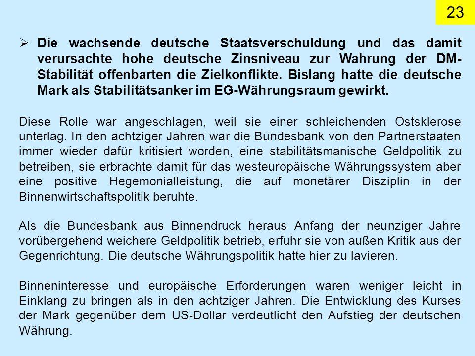 23 Die wachsende deutsche Staatsverschuldung und das damit verursachte hohe deutsche Zinsniveau zur Wahrung der DM- Stabilität offenbarten die Zielkonflikte.