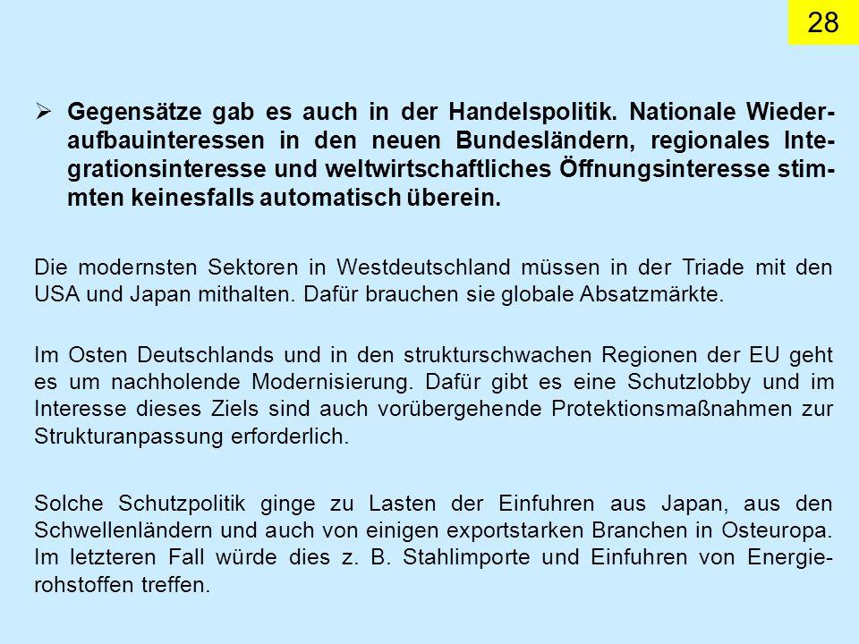 28 Gegensätze gab es auch in der Handelspolitik.