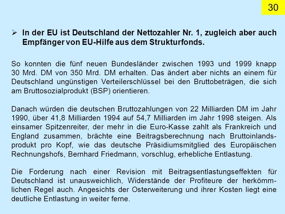 30 In der EU ist Deutschland der Nettozahler Nr.