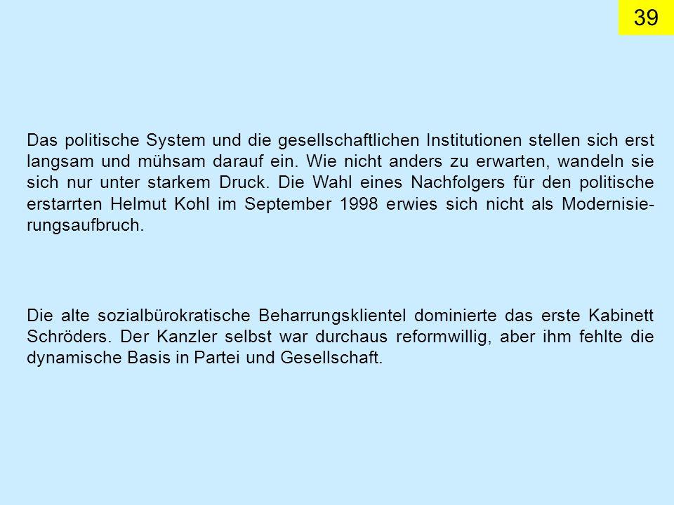 39 Das politische System und die gesellschaftlichen Institutionen stellen sich erst langsam und mühsam darauf ein.